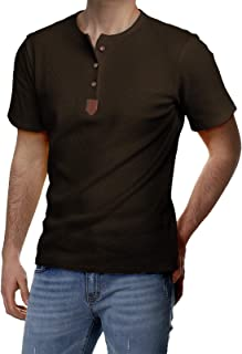 Mens Casual Slim Fit Henley Shirts Short Sleeve with Pocket of Waffle Cotton