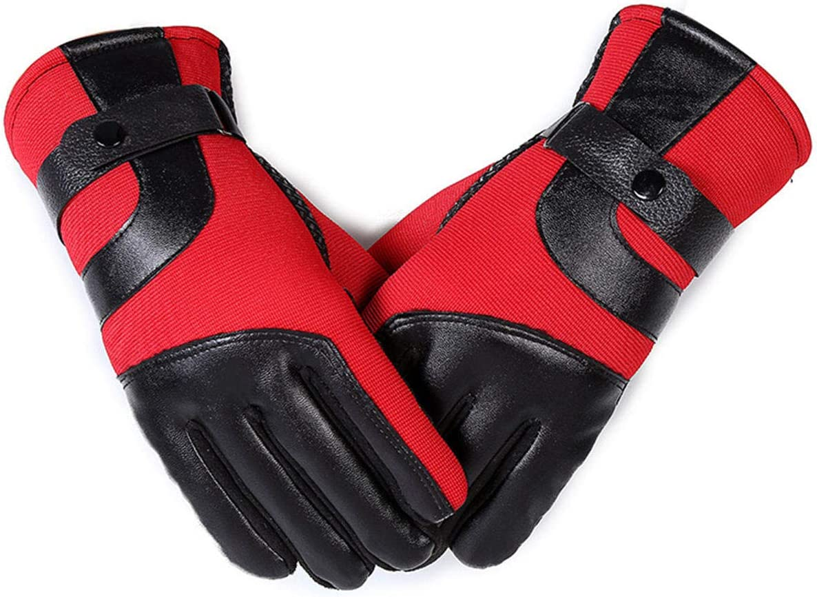 Lupovin-Keep Warm Anti-Slip Touch Screen/Leather Gloves Warmer Caloric Windproof Raincoat Skiing Motorcycle Non-Slip (Color : Red)