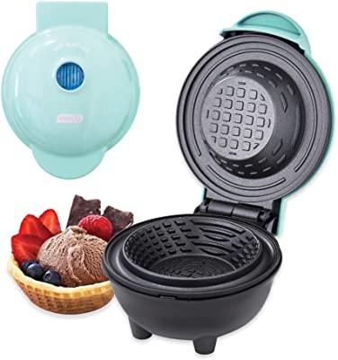 Dash DMWBM100GBAQ04 Mini Waffle Maker for Breakfast, Burrito Bowls, Ice Cream and Other Sweet Deserts, Recipe Guide Included, Aqua
