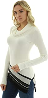 PattyBoutik Women Cowl Neck Asymmetrical Hem Sweater
