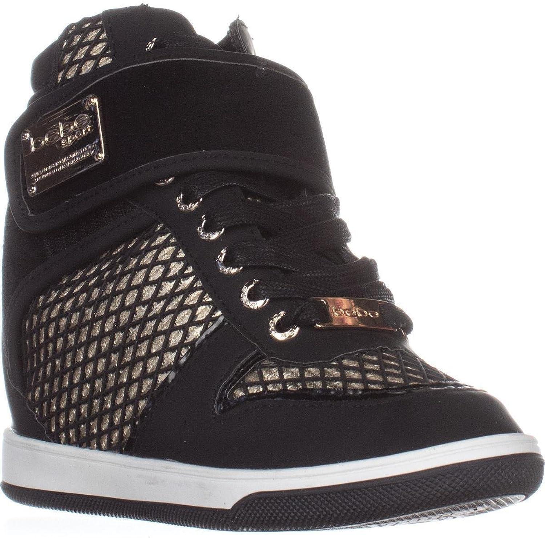 Bebe Womens Calisto Metallic High Top Fashion Sneakers