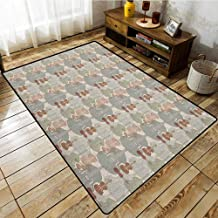 Collection Area Rug,Music,Classical Instrumets String Quartet Violins Baroque Sonata,Anti-Slip Doormat Footpad Machine Washable Pale Caramel Warm Taupe Reseda Green