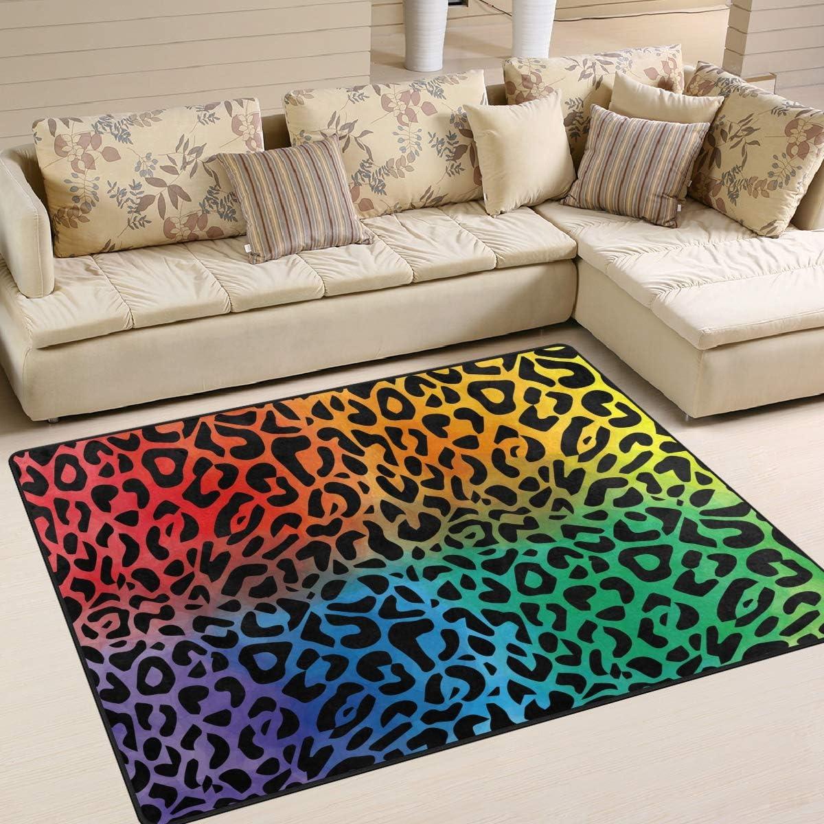 ALAZA Rainbow Leopard Animal マーケット Print Abstract Li Rugs 送料無料 新品 Area for Rug