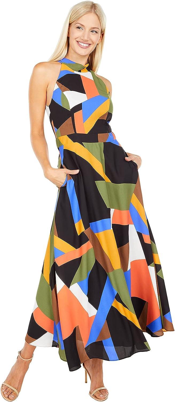 Tahari ASL Women's Sleeveless Mock Neck Halter Dress