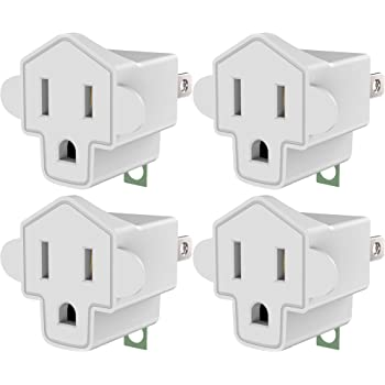 3-2 Prong Grounding Outlet Adapter, JACKYLED 3 Prong to 2 Prong Adapter Converter, ETL Listed Fireproof Material 200℃ Resistant Heavy Duty Wall Outlet Plug for Household Appliances Industrial, 4 Pack