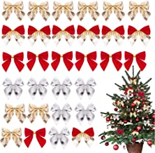 Christmas Tree Bows, Reayouth 48 Pieces Christmas Ribbon Bows Christmas Wreath Bow, Great for Christmas Garland Christmas ...
