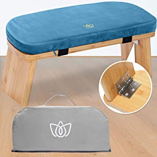 "Florensi Meditation Bench (18""x7""x6""), Bamboo, Foldable & Ergonomic Meditation Stool, Sturdy Prayer Bench, Comfortable for..."