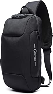 Sling Backpack with USB Charging Port Crossbody Anti-Theft Lock Waterproof Chest Bag (Black)