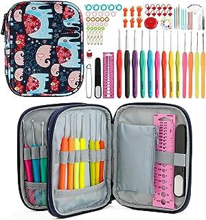 KOKNIT Elephant Crochet Hook Set, Including 9 US Size Soft Handle Hooks & 4 Lace Crochet Hooks & 84 Pcs Accessories, Profe...