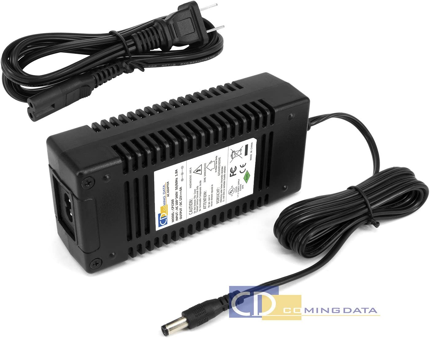 Coming Data 12V 6A 72W AC/DC Adapter Power Supplyw/5.5x2.1/2.5mm DC Barrel Connector (UL Certified)