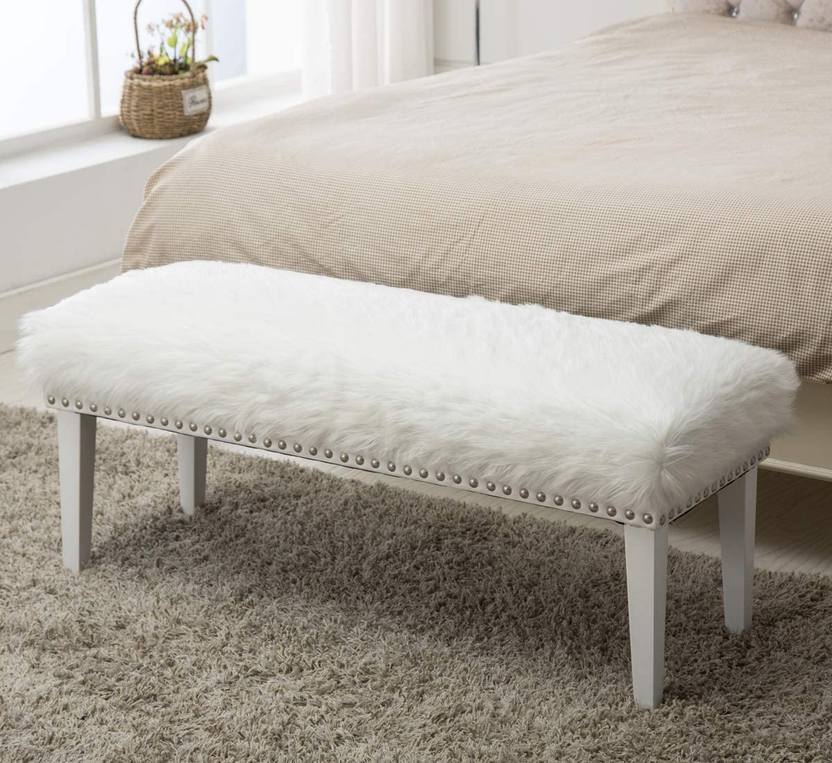 Max 44% OFF White Faux Fur Ottoman Bench Bedroom Upholstered Free shipping on posting reviews Livin for