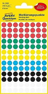 AVERY Zweckform 3090 selbstklebende Markierungspunkte Durchmesser 8 mm, 416 Klebepunkte auf 4 Bogen, runde Aufkleber für Kalender, Planer und zum Basteln, Papier, matt bunt