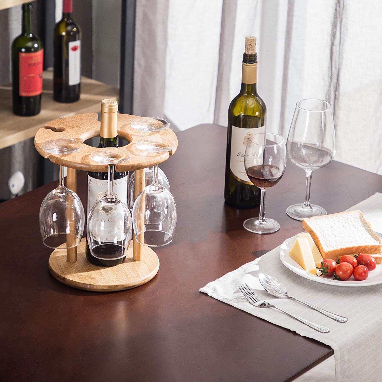 Wine Glass Holder Bamboo Wine Bottle Holder Handmade Countertop Wine Rack with 6 Glass Rack & 1 Bottle Holder