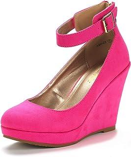 DREAM PAIRS Women's ASH Wedge Heel Platform Pumps Shoes