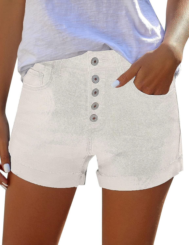 LookbookStore Women Summer Mid Waisted Cuffed Hem Buttons Denim Jean Shorts