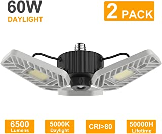 LZHOME 2-PACK LED Garage Lights, 6500Lumens Adjustable Trilights Garage Ceiling Light ,60W LED Garage Light, CRI 80, 5000k Nature light, Garage Lights with Adjustable Panels