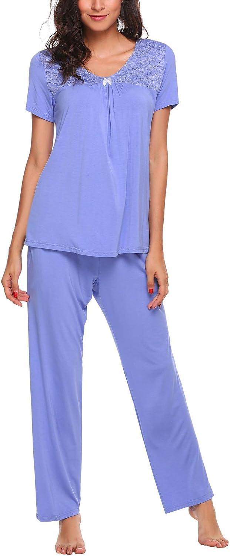 Adidome Women Pajamas Set VNeck Short Sleeve Top and Elastic Waist Long Pants Lounge Sleepwear SXXL