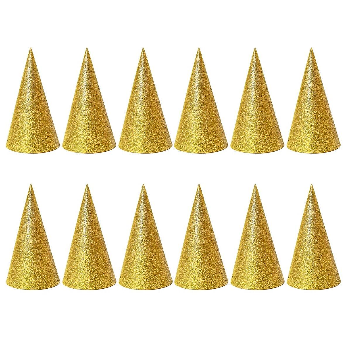 軸剥ぎ取る私達SUPVOX 子供と大人のパーティーのための12個のキラキラコーンパーティー帽子トライアングルバースデー帽子は装飾を飾ります(ゴールデン)