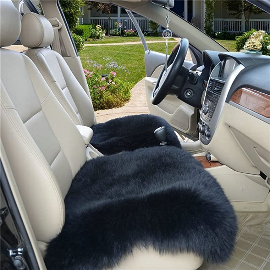 Altopcar Wool Car Interior Seat Cover, Fluffy Faux Sheepskin Seat Cushion Pad Winter Mat Universal Fit for Comfort in Auto, Plane, Office, or Home(18 Inch X 18 Inch) (1 Pcs Black)