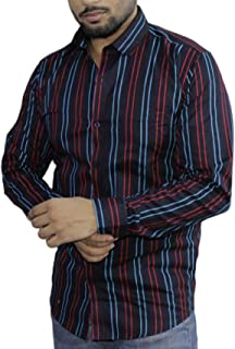 Spanish One Look Mens Long Sleeve 100% Cotton Regular Fit Button Down Casual Shirts Dress in Blue Printed Stripped Shirt for Men