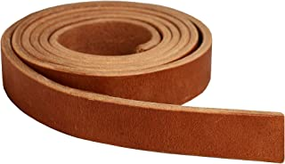 "Premium Hermann Oak Harness Leather Blank Strap, 100% Leather Strip, 13 Ounce Weight [13/64"" or 5.2 MM Thickness] Fully Finished & Leveled, Natural Russet Color, Great for Tack Repair - 1.25"" x 84"""