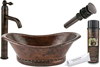 Premier Copper Products BSP1_VBT20DB Bath Tub Vessel Hammered Copper Sink with Single Handle Vessel Faucet, Oil Rubbed Bronze
