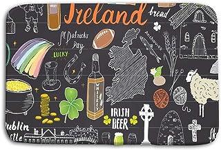 LiminiAOS Felpudo Interior Al Aire Libre Irlanda Bosquejo Garabatos Dibujados a Mano Conjunto de Elementos irlandeses Mapa de la Bandera Irlanda Celtic Cross Castle Shamrock Celtic Harp m Mat
