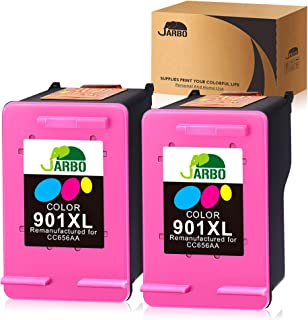 JARBO Remanufactured for HP 901 Ink Cartridges, HP 901XL HP 901 XL Ink, 2 Color, Use with HP Officejet 4500 J4500 J4524 J4540 J4550 J4580 J4624 J4640 J4660 J4680 J4680C, Ink Level Display