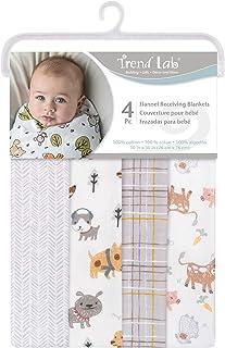 Trend Lab 4 Pack Flannel Receiving Blankets, (103759), Farm Friends