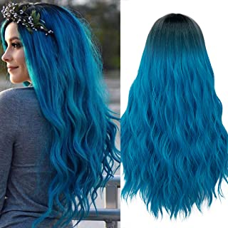 Mildiso Long Blue Wigs for Women Ombre Color Wavy Hair Wig Natural Looking Perfect for Daily Party Cosply 052B
