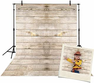 Funnytree 6x8ft Durable Fabric Rustic Wood Backdrop Wrinkle Free Vintage Wooden Faux Board Ironable Washable Photography Background for Portrait Party Decoration Photo Booth Props