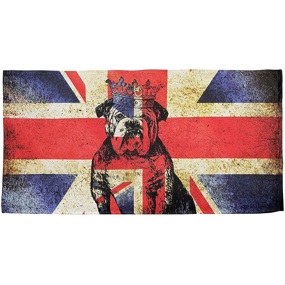 給料ジャニス一見English British BulldogクラウンGrunge Flag All Overビーチタオル OneSize 00168773-MUL-OS