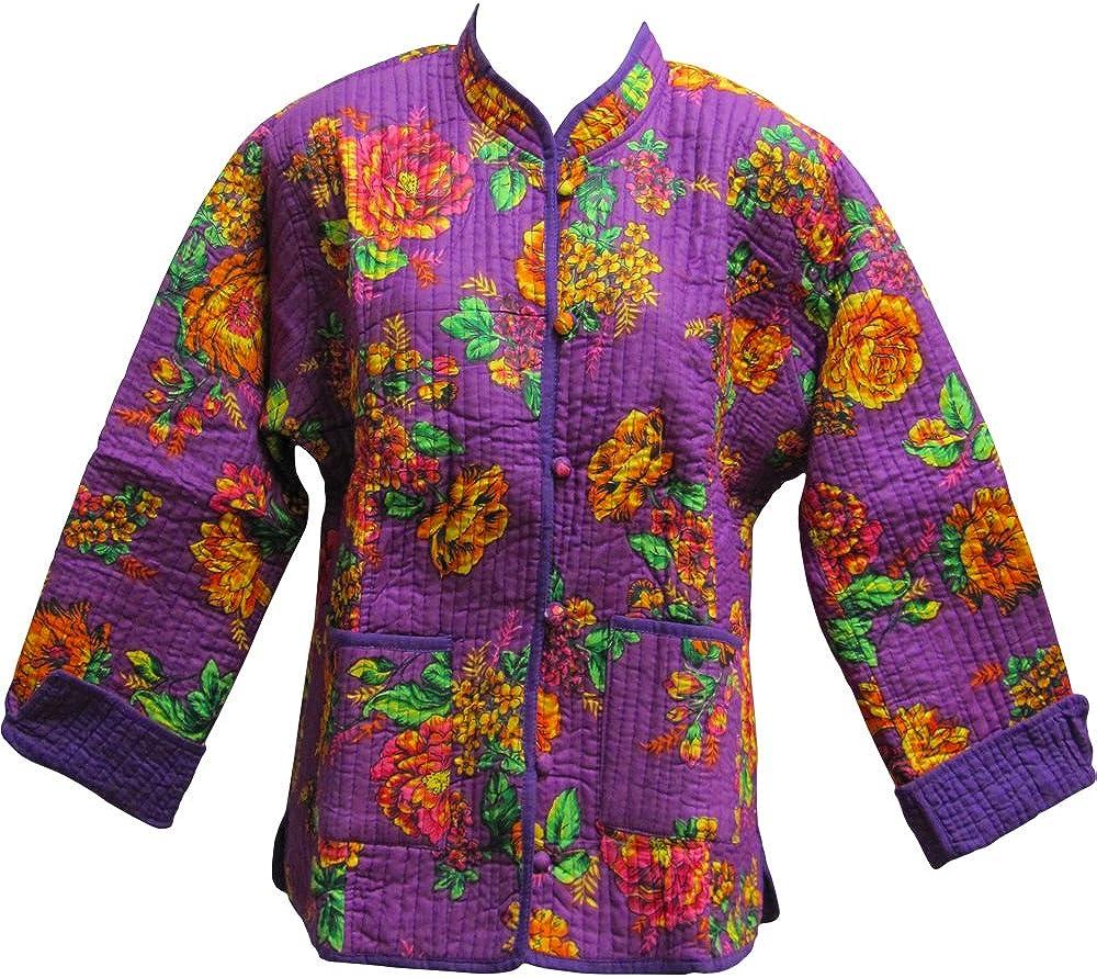 Yoga Trendz Reversible Missy Floral Quilted Cotton Outerwear Jacket Cardigan Blouse JK No7