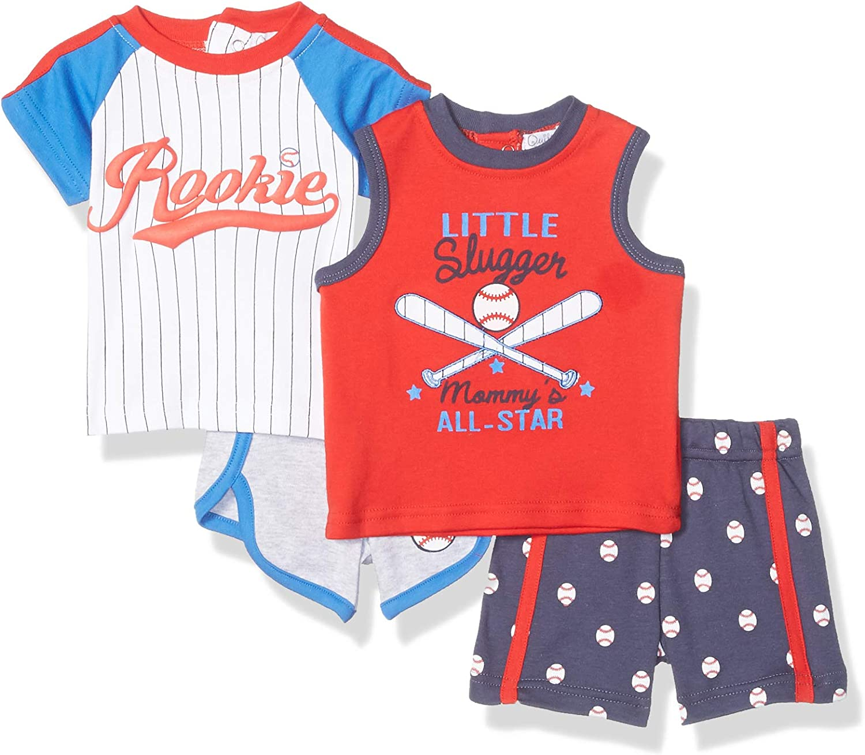 Quiltex boys Baseball 2 Tees and 2 Shorts Set 4 Pc