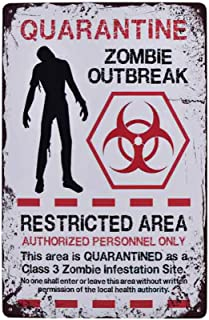 Flytime Warning Restricted Area Quarantine Zombie Outbreak Vintage Tin Signs Retro Metal Plate Wall Decor Funny Coffee Bar...