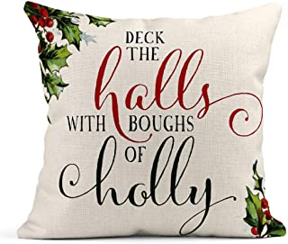 Tarolo Linen Throw Pillow Cover Case Deck The Halls Signs Decorative Pillow Cases Covers Home Decor Square 16 x 16 Inches Pillowcases