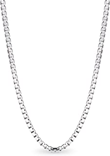 T400 925 Sterling Silver 1.5mm 1mm Italian Box Chain Necklace 16 18 20 24 30 inches Unisex Gift for Women Men Boys