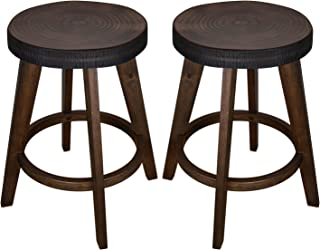 Furgle Set of 2 Round Counter Stool Bar Stool 24-inch Solid Wood Backless Bar Stool Natural Bar Stool for Kitchen Island, Counter, Pub or Bar - Rustic Walnut