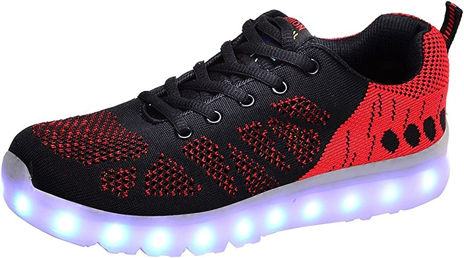 Xiaoyang Men Women LED Light Up Sport shoes Knit Tennis Lace-up USB Charging Flashing Sneakers