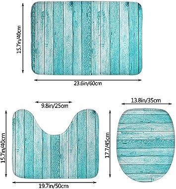 WXZQNN Alfombrilla De Baño Antideslizante Juego De Alfombras De 3 Piezas Tablones De Madera Papel Tapiz De Textura Alfombra D