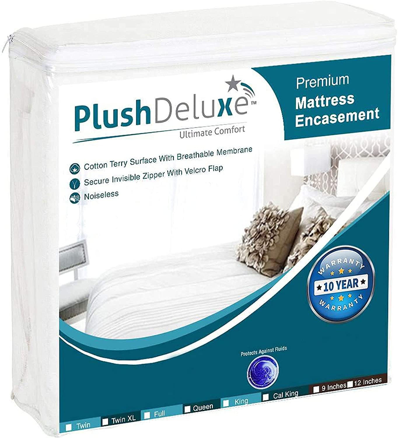 """PlushDeluxe Premium Zippered Mattress Encasement, Waterproof, & Dust Proof 6-Sided Protector Cover, Hypoallergenic Cotton Terry Surface Fits 12""""-15"""" Inches (Full): Home & Kitchen"""