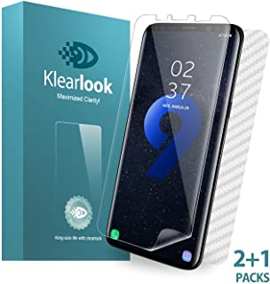 Galaxy S9 Plus Screen Protector Klearlook 2 Pack Wet Applied Soft Film [Curved Edge Fit][High Responsive Touch][No Lifting on Edges] Case Friendly Designed, Included 1-Piece Back Skin for Samsung S9+