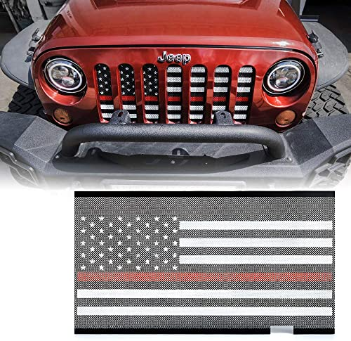 Upgrade Version Clip-on Honeycomb Front Grille Inserts Replacement for Jeep Wrangler JK JKU Rubicon Sahara Sport 2007-2015 Front Mesh Grille Inserts Routen Black