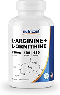 Nutricost L-アルギニン + L-オルニチン 750mg、 180カプセル、非GMO、グルテンフリー