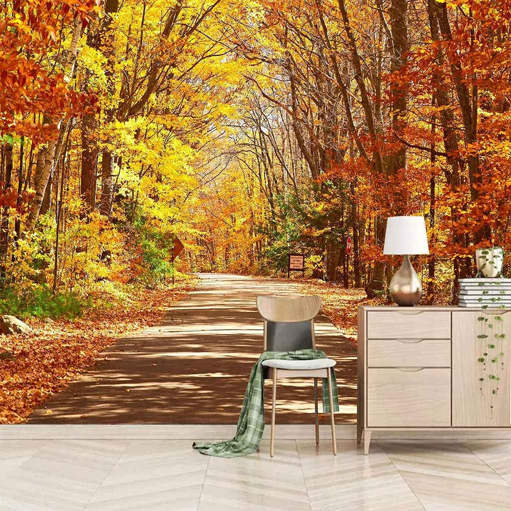 HWCUHL 3D Wall Stickers New color overseas Mural Landscape Yellow Golden Woods