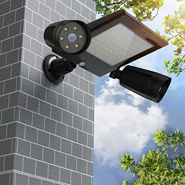 Aluvee Solar Double Spotlight 76 LED Waterproof Sensor Motion Lights Upgraded 360 Degree Rotatable Outdoor Security Lights With Dual Head Spotlights For Patio Porch Deck Yard Garden Driveway Outsides