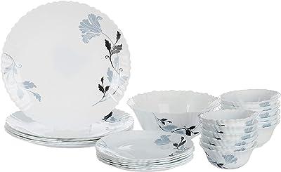 Borosil Fluted Millenia Dinner Set, 25-Pieces, White