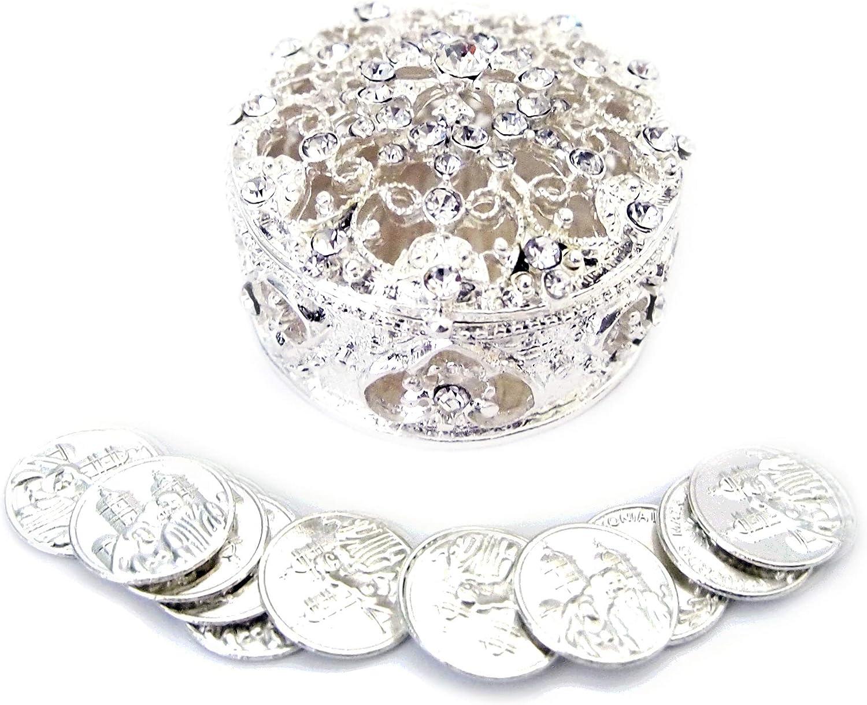 JOICE Silver Metal Round Ranking TOP16 Rhinestone Wedding Set Box Max 83% OFF U with Arras