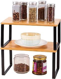 HAITRAL Lot de 2 étagères de cuisine – Égouttoir à vaisselle pratique en bambou | Étagère à épices pour plus d'espace de r...