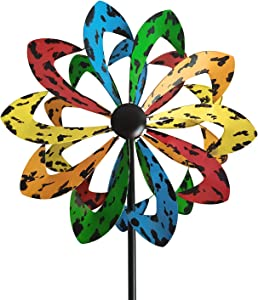aboxoo 5Color Windmill Dual Direction 360 Degree for Outdoor Yard Patio Lawn Garden Decorations, Decorative Lawn Ornament Wind Mills